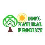 Grünes Naturproduktlogo Eco mit Bäumen und Sonne auf einem weißen Hintergrund Abstraktes umweltsmäßigDesign natürlich vektor abbildung