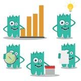 Grünes nettes Monsternetzmaskottchen Lizenzfreies Stockfoto