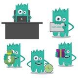 Grünes nettes Monsternetzmaskottchen Stockfotografie