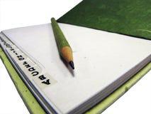 Grünes Notizbuch und feiner Bleistiftpunkt, organisieren. Stockfotos