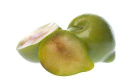 Grünes Pflaume-Makro getrennt Stockfotografie