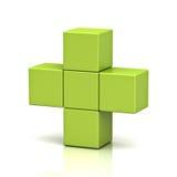 Grünes Pluszeichen auf weißem Hintergrund mit Reflexion lizenzfreie abbildung