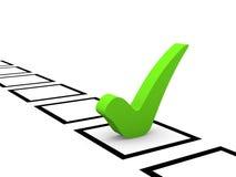 Grünes Prüfzeichen in der Checkliste Stockbilder