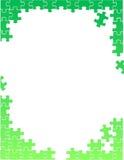 Grünes Puzzlespiel bessert Grenzschablonenillustration aus Lizenzfreie Stockfotografie