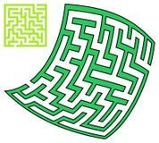 Grünes Quadrat und verformtes Labyrinth (10x10) Lizenzfreie Stockfotos