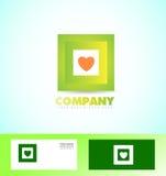 Grünes quadratisches Logoikonengeschäft Lizenzfreies Stockfoto
