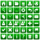 Grünes quadratisches Web knöpft [1] Stockfotografie