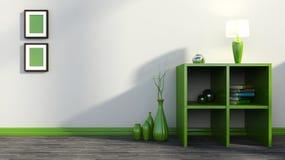 Grünes Regal mit Vasen, Büchern und Lampe Stockfotos