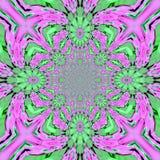 Grünes rosa helles ausgebreitetes fähiges kaleidoskopisches Muster der Fractalfliese vektor abbildung