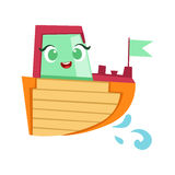 Grünes, rotes und orange Boot, nette Girly Toy Wooden Ship With Face-Karikatur-Illustration Stockfotos