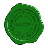 Grünes rundes Wachssiegel HACCP auf weißem Hintergrund Lizenzfreie Stockfotografie