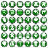 Grünes rundes Web knöpft [1] Stockbilder