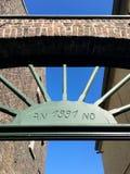 Grünes Schild Anno 1991 Stockbild