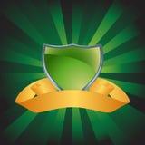 Grünes Schild mit Hintergrund Stockbilder