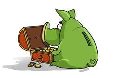 Grünes Schwein wünscht Ihnen viel Geld im neuen Jahr! lizenzfreie abbildung