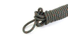 Grünes Seil auf weißem Hintergrund Stockbild