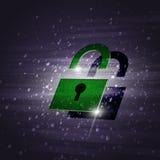Grünes Sicherheitsschloss Stockfotos
