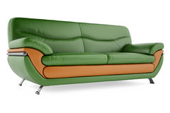 grünes Sofa 3D auf einem weißen Hintergrund stockbilder
