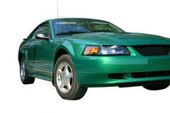 Grünes Sport-Auto über Weiß Stockbild