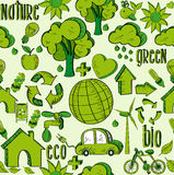 Grünes Umweltikonenmuster Lizenzfreies Stockbild