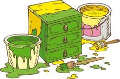 Grünes und gelbes Kommode Stockfoto