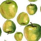 Grünes und gelbes neues Apfelverzierungsmuster Stockfoto