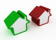 Grünes und rotes Metapherhaus Lizenzfreie Stockfotografie