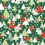 Grünes und rotes Schneebäume Weihnachtsnahtloses Muster stock abbildung