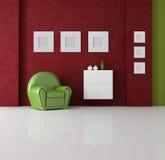 Grünes und rotes Wohnzimmer Lizenzfreie Stockfotografie