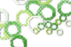 grünes und weißes Hexagon, abstrakter Hintergrund Stockfotografie
