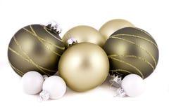 Grünes und weißes Weihnachtsdekorationen Stockfotos