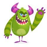 Grünes verärgertes Karikaturmonster Grüner und gehörnter Vektorschleppangelcharakter Halloween-Design Stockbilder