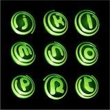 Grünes vibrierendes Zeichenset. Stockbilder