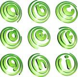 Grünes vibrierendes Zeichenset. Lizenzfreie Stockfotografie