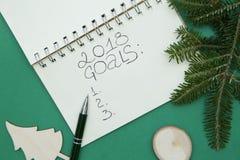 Grünes Weihnachts- oder des neuen Jahreshintergrund mit einem Notizbuch, hölzernen Spielwaren und einem Fichtenzweig Stockfotografie