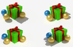 Grünes Weihnachtsgeschenk und glänzende Bälle Stockfoto