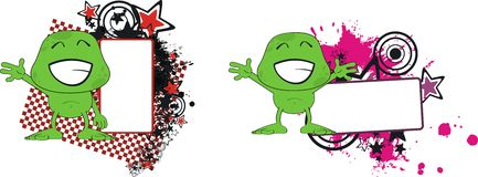 Grünes wenig Monsterkarikatur-Ausdruck copyspace Stockfotografie