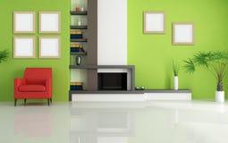 Grünes Wohnzimmer mit modernem Kamin Stockbilder