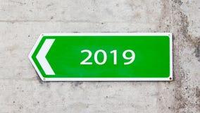 Grünes Zeichen - neues Jahr - 2019 Stockbild