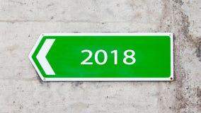 Grünes Zeichen - neues Jahr - 2018 Lizenzfreie Stockfotografie