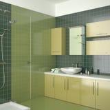 Grünes zeitgenössisches Badezimmer mit gelben Möbeln Stockbilder