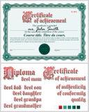 Grünes Zertifikat schablone Guilloche horizontal Lizenzfreie Stockfotografie