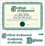 Grünes Zertifikat schablone horizontal Stockbild