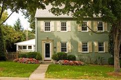 Grünes Ziegelstein-Haus Stockfoto