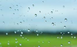 Grünfelder nach Regen hinter dem Fenster, schauen frisch, entspannen sich, Ruhe und Ruhe Lizenzfreies Stockbild