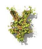 Grünpflanze in der Form des Geldzeichens Stockfotos