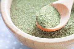 Grünpulver des Kelps (Algen) Lizenzfreie Stockfotos