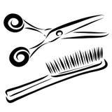 Grępla i nożyce, nakreślenie z czarnymi liniami royalty ilustracja