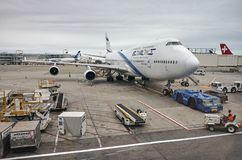 Gr Al Israel Airlines Boeing 747 in John F Kennedy International Airport royalty-vrije stock fotografie