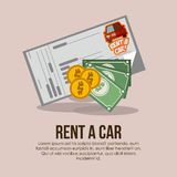 2014 11 15 GR 786 BIG. Rent a car over beige background, vector illustration stock illustration